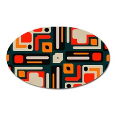 Shapes In Retro Colors Texture                   			magnet (oval) by LalyLauraFLM