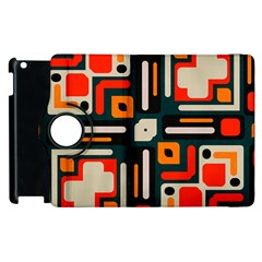 Shapes In Retro Colors Texture                   apple Ipad 2 Flip 360 Case by LalyLauraFLM