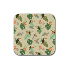 Tropical Garden Pattern Rubber Coaster (square)  by TastefulDesigns