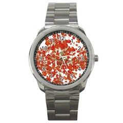 Vivid Floral Collage Sport Metal Watch by dflcprints