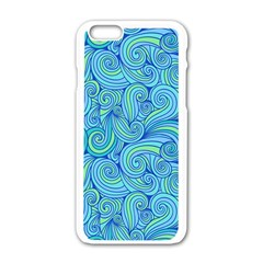 Abstract Blue Wave Pattern Apple Iphone 6/6s White Enamel Case by TastefulDesigns
