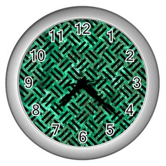 Woven2 Black Marble & Green Marble (r) Wall Clock (silver) by trendistuff