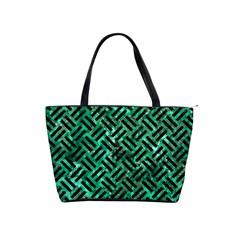 Woven2 Black Marble & Green Marble (r) Classic Shoulder Handbag by trendistuff