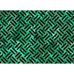 Woven2 Black Marble & Green Marble (r) Birthday Cake 3d Greeting Card (7x5) by trendistuff