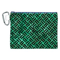 Woven2 Black Marble & Green Marble (r) Canvas Cosmetic Bag (xxl) by trendistuff