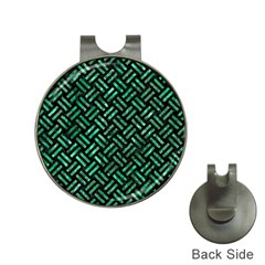 Woven2 Black Marble & Green Marble Golf Ball Marker Hat Clip by trendistuff