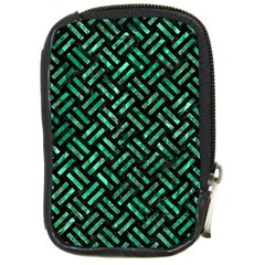 Woven2 Black Marble & Green Marble Compact Camera Leather Case by trendistuff