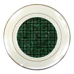 Woven1 Black Marble & Green Marble Porcelain Plate by trendistuff
