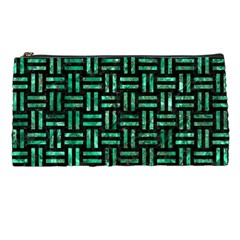 Woven1 Black Marble & Green Marble Pencil Case by trendistuff