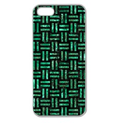 Woven1 Black Marble & Green Marble Apple Seamless Iphone 5 Case (clear) by trendistuff