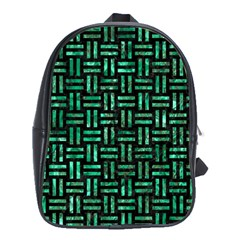 Woven1 Black Marble & Green Marble School Bag (xl) by trendistuff