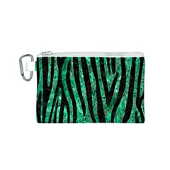 Skin4 Black Marble & Green Marble Canvas Cosmetic Bag (small) by trendistuff