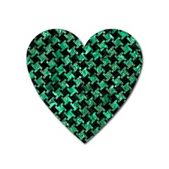 Houndstooth2 Black Marble & Green Marble Magnet (heart) by trendistuff