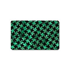Houndstooth2 Black Marble & Green Marble Magnet (name Card) by trendistuff
