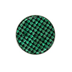 Houndstooth2 Black Marble & Green Marble Hat Clip Ball Marker (10 Pack) by trendistuff