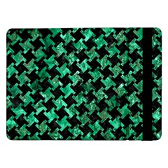 Houndstooth2 Black Marble & Green Marble Samsung Galaxy Tab Pro 12 2  Flip Case by trendistuff