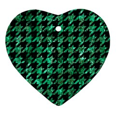 Houndstooth1 Black Marble & Green Marble Ornament (heart) by trendistuff