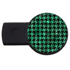 Houndstooth1 Black Marble & Green Marble Usb Flash Drive Round (2 Gb) by trendistuff