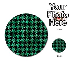 Houndstooth1 Black Marble & Green Marble Multi Purpose Cards (round) by trendistuff
