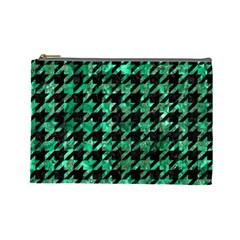 Houndstooth1 Black Marble & Green Marble Cosmetic Bag (large) by trendistuff