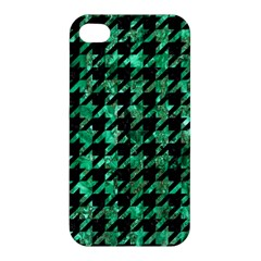 Houndstooth1 Black Marble & Green Marble Apple Iphone 4/4s Premium Hardshell Case by trendistuff