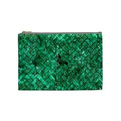 Brick2 Black Marble & Green Marble (r) Cosmetic Bag (medium) by trendistuff