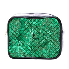 Brick2 Black Marble & Green Marble (r) Mini Toiletries Bag (one Side) by trendistuff