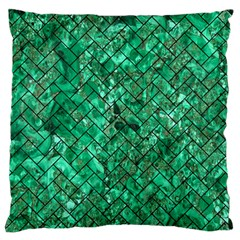 Brick2 Black Marble & Green Marble (r) Large Flano Cushion Case (two Sides) by trendistuff