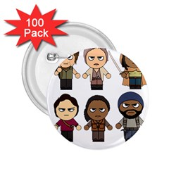 The Walking Dead   Main Characters Chibi   Amc Walking Dead   Manga Dead 2 25  Buttons (100 Pack)  by PTsImaginarium