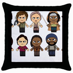 The Walking Dead   Main Characters Chibi   Amc Walking Dead   Manga Dead Throw Pillow Case (black) by PTsImaginarium