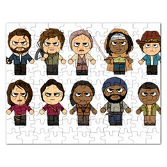 The Walking Dead   Main Characters Chibi   Amc Walking Dead   Manga Dead Rectangular Jigsaw Puzzl by PTsImaginarium