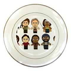 The Walking Dead   Main Characters Chibi   Amc Walking Dead   Manga Dead Porcelain Plates by PTsImaginarium