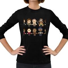 The Walking Dead   Main Characters Chibi   Amc Walking Dead   Manga Dead Women s Long Sleeve Dark T Shirts by PTsImaginarium