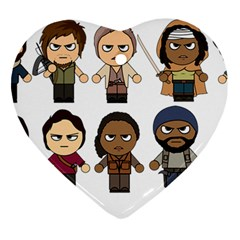 The Walking Dead   Main Characters Chibi   Amc Walking Dead   Manga Dead Heart Ornament (2 Sides) by PTsImaginarium