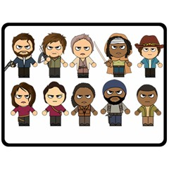 The Walking Dead   Main Characters Chibi   Amc Walking Dead   Manga Dead Fleece Blanket (large)  by PTsImaginarium