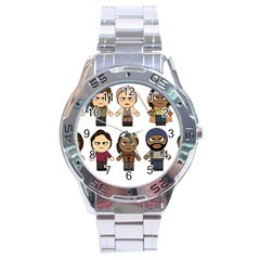 The Walking Dead   Main Characters Chibi   Amc Walking Dead   Manga Dead Stainless Steel Analogue Watch by PTsImaginarium