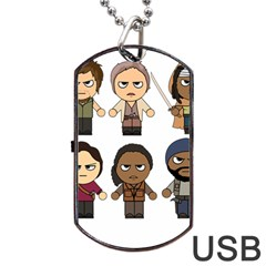 The Walking Dead   Main Characters Chibi   Amc Walking Dead   Manga Dead Dog Tag Usb Flash (two Sides)  by PTsImaginarium