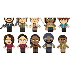 The Walking Dead   Main Characters Chibi   Amc Walking Dead   Manga Dead You Are Invited 3d Greeting Card (8x4)  by PTsImaginarium