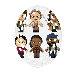 The Walking Dead   Main Characters Chibi   Amc Walking Dead   Manga Dead Oval Filigree Ornament (2 Side)  by PTsImaginarium