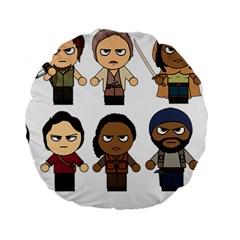 The Walking Dead   Main Characters Chibi   Amc Walking Dead   Manga Dead Standard 15  Premium Round Cushions by PTsImaginarium