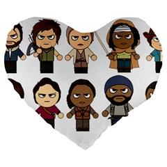 The Walking Dead   Main Characters Chibi   Amc Walking Dead   Manga Dead Large 19  Premium Heart Shape Cushions by PTsImaginarium