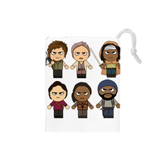The Walking Dead   Main Characters Chibi   Amc Walking Dead   Manga Dead Drawstring Pouches (small)  by PTsImaginarium