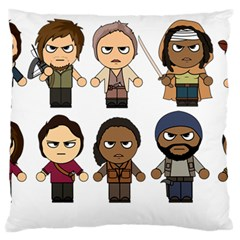 The Walking Dead   Main Characters Chibi   Amc Walking Dead   Manga Dead Large Flano Cushion Case (one Side) by PTsImaginarium