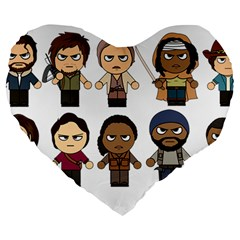 The Walking Dead   Main Characters Chibi   Amc Walking Dead   Manga Dead Large 19  Premium Flano Heart Shape Cushions by PTsImaginarium