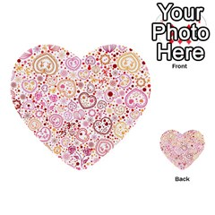 Ornamental Pattern With Hearts And Flowers  Multi Purpose Cards (heart)
