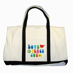 Love Peace Joy Two Tone Tote Bag by TastefulDesigns