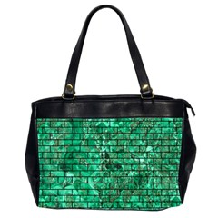Brick1 Black Marble & Green Marble (r) Oversize Office Handbag (2 Sides) by trendistuff