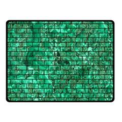 Brick1 Black Marble & Green Marble (r) Double Sided Fleece Blanket (small) by trendistuff