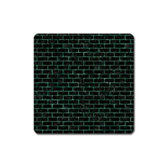 Brick1 Black Marble & Green Marble Magnet (square) by trendistuff