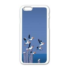 Abstract Pelicans Seascape Tropical Pop Art  Apple Iphone 6/6s White Enamel Case by WaltCurleeArt